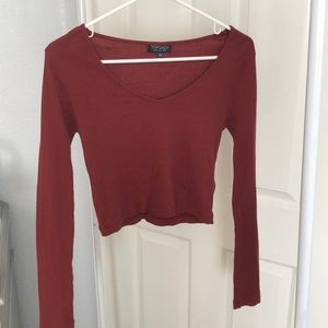 Topshop maroon crop top (long sleeve)
